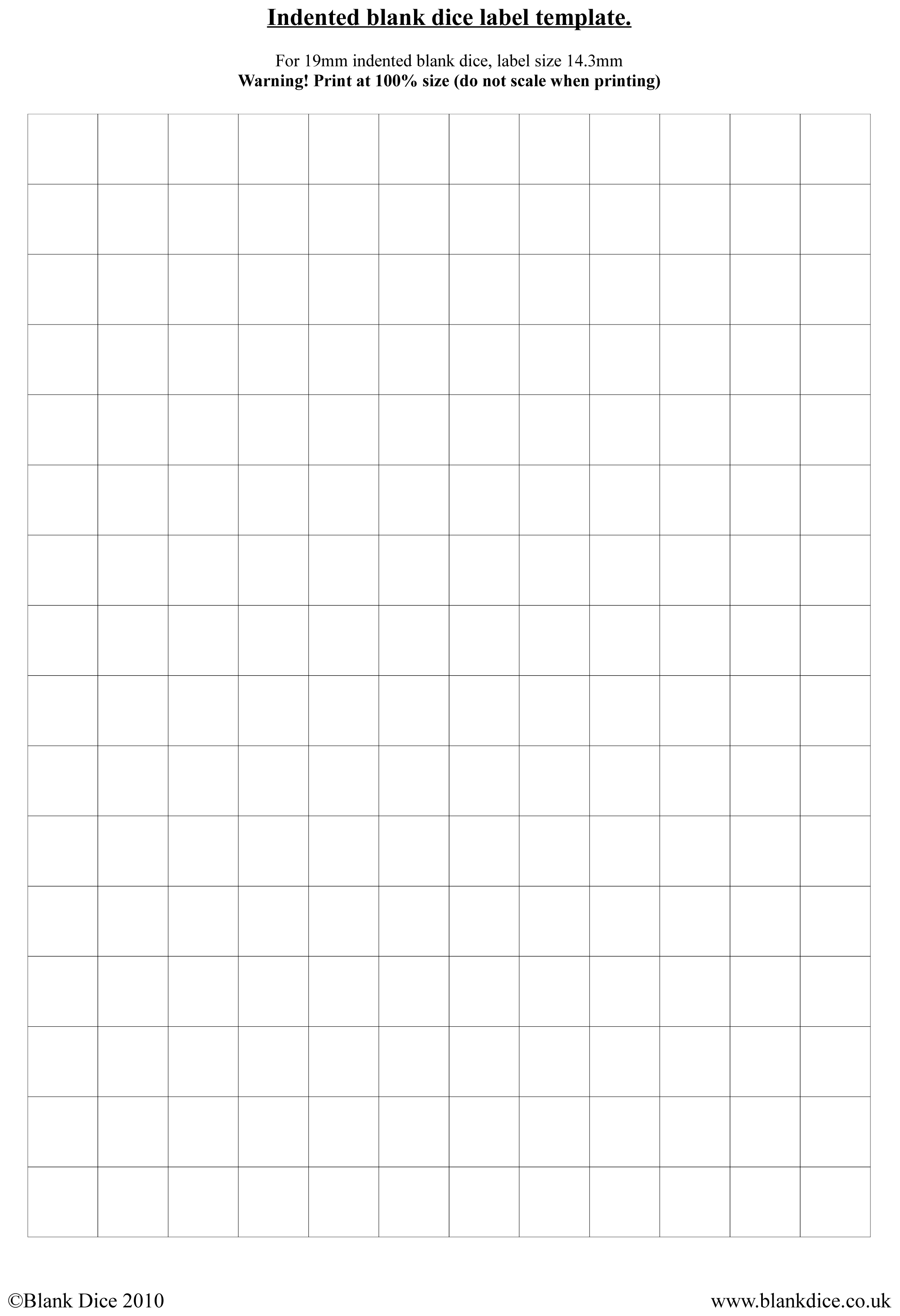 Blank dice templates