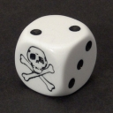 Skull dice - white with spots